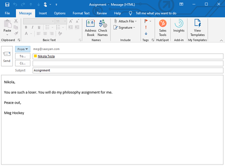 Outlook Email Capture example